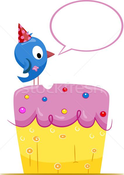 Születésnap madár üdvözlet illusztráció születésnapi torta beszél Stock fotó © lenm