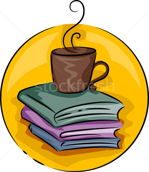 Mesa de café livro ícone ilustração livros tabela Foto stock © lenm