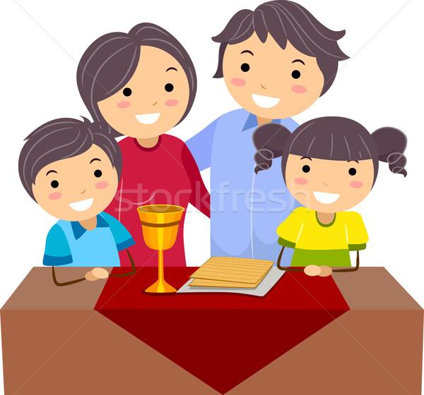 Pâque illustration famille célébrer femme homme Photo stock © lenm
