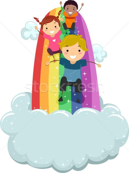 Crianças arco-íris deslizar ilustração nuvens criança Foto stock © lenm
