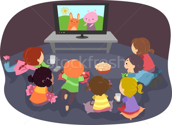 Stickman Kids Watching Cartoons Stock photo © lenm