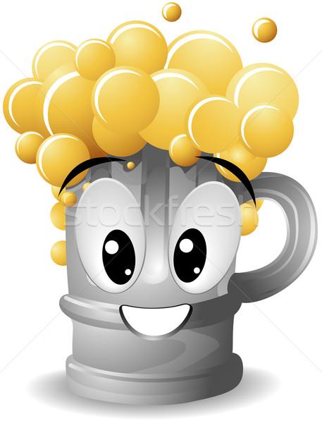 пива кружка счастливым лице искусства Сток-фото © lenm