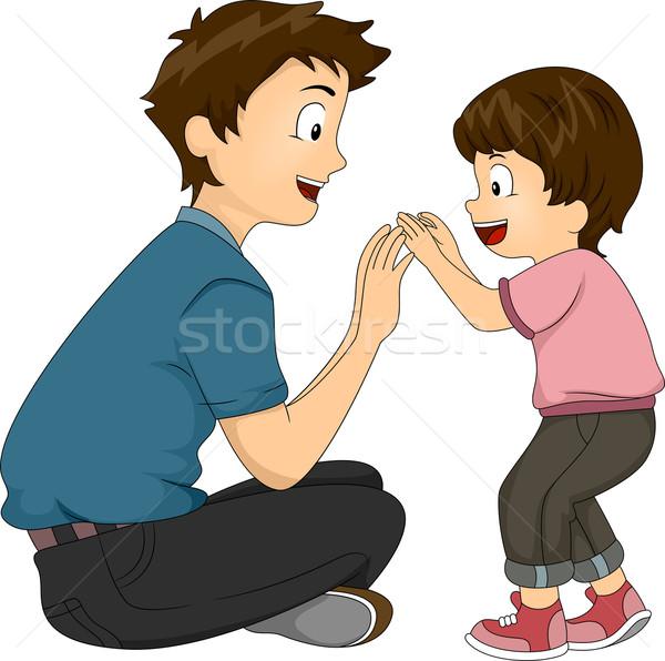 Filho pai bonding ilustração jogar juntos homem Foto stock © lenm
