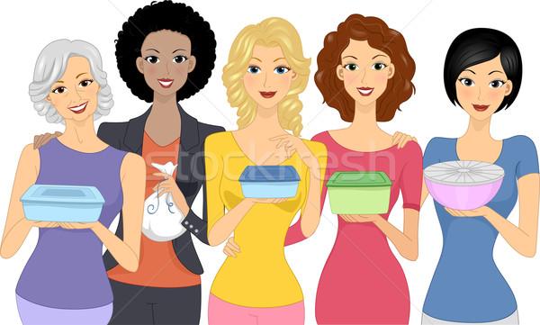 Edény szerencse buli illusztráció nők hordoz Stock fotó © lenm