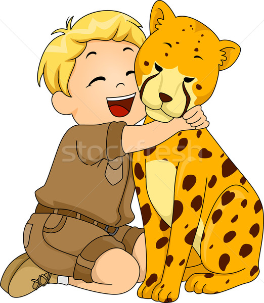 Boy Hugging Cheetah Stuffed Toy Stock photo © lenm