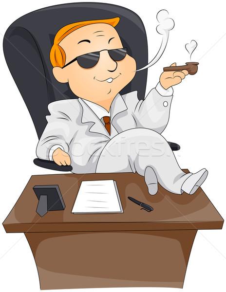 Işadamı sigara içme iş büro güneş gözlüğü Stok fotoğraf © lenm