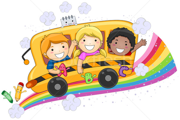 Enfants bus scolaire design fille Photo stock © lenm
