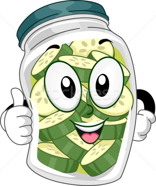 Jar mascotte illustratie plantaardige dieet Stockfoto © lenm