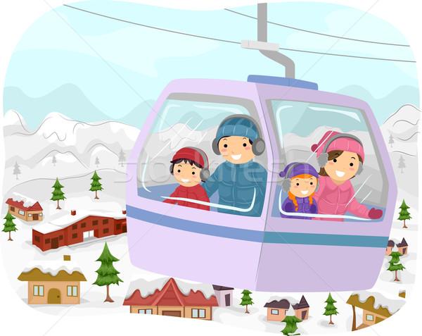 Invierno cable coche ilustración familia fuera Foto stock © lenm