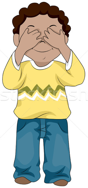 Kid Covering His Eyes Stock photo © lenm