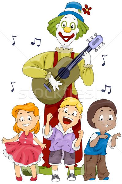 Ninos cantando ilustración ninos payaso baile Foto stock © lenm