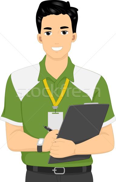 Homme entraîneur illustration Homme fitness écrit Photo stock © lenm