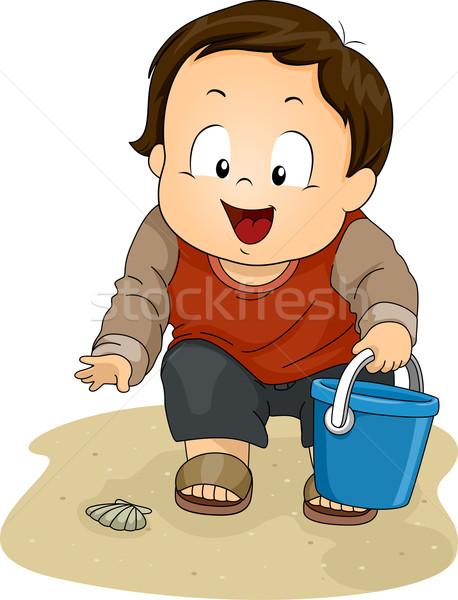 Menino conchas ilustração pequeno jovem Foto stock © lenm