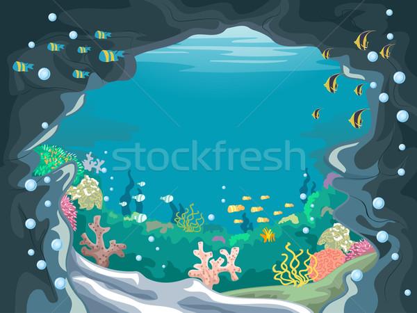 Vízalatti barlang festői illusztráció színes halfajok Stock fotó © lenm