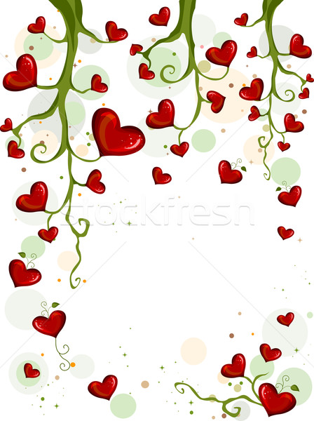Floraison amour cadre vignes plantes cartoon Photo stock © lenm