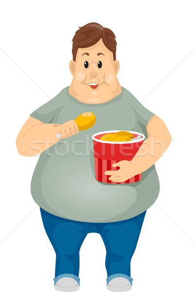 Obese Man Eating Fried Chicken Bucket Stock photo © lenm