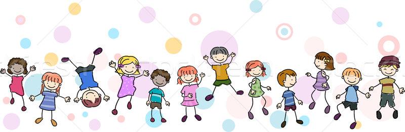 Gyerekek szenzáció keret illusztráció előad különböző Stock fotó © lenm