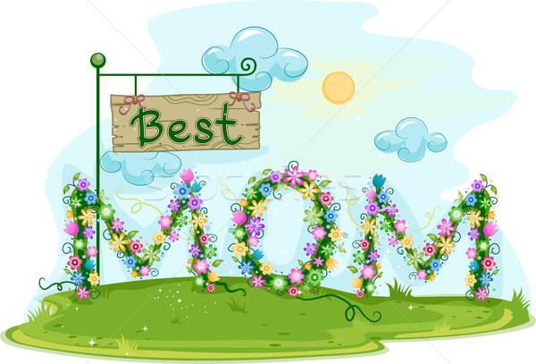 Legjobb anya illusztráció szavak rajz legelő Stock fotó © lenm