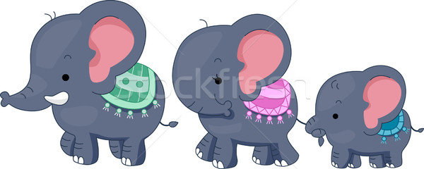 Elefante familia ilustración elefantes animales enlace Foto stock © lenm