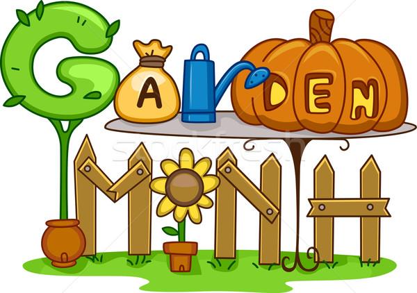 Stock fotó: Kert · hónap · illusztráció · kertészkedés · terv · háttér