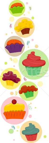 Cupcakes Border Stock photo © lenm