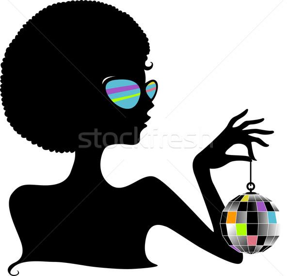 Sylwetka disco ball dziewczyna klub retro Zdjęcia stock © lenm