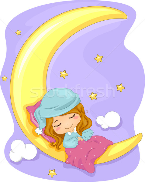 Sweet dreams illustration fille dormir espace étoiles Photo stock © lenm
