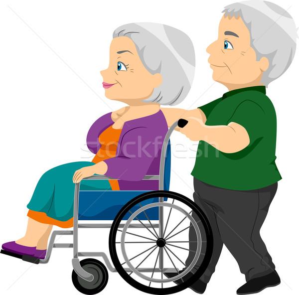 Yaşlı kadın tekerlekli sandalye örnek sağlık yaşlı Stok fotoğraf © lenm