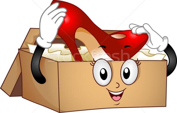 Shoebox Mascot with Red Stilleto Stock photo © lenm