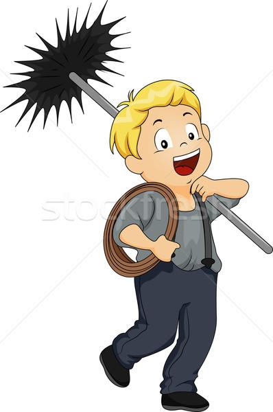 Kid jongen schoorsteen illustratie weinig schoonmaken Stockfoto © lenm