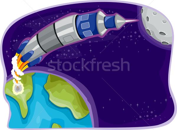 Rakietowe przestrzeń kosmiczna ilustracja statku nauki cartoon Zdjęcia stock © lenm