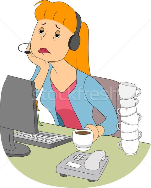 álmos lány illusztráció unatkozik ül számítógép Stock fotó © lenm