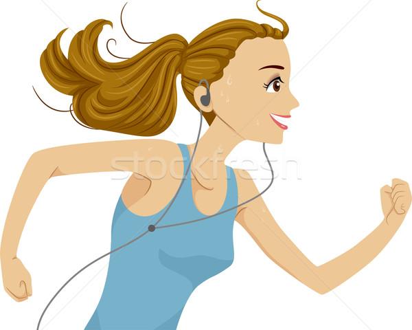を実行して 少女 実例 音楽を聴く 音楽 行使 ストックフォト © lenm