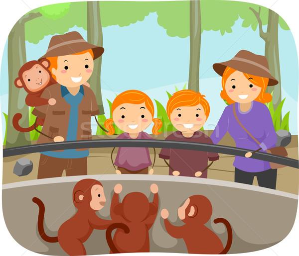 Jardim zoológico macacos ilustração família fora menina Foto stock © lenm