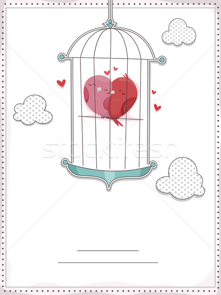 Uitnodiging illustratie knuffelen binnenkant Stockfoto © lenm