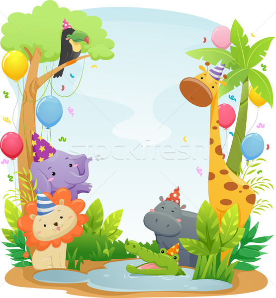 Safari animaux anniversaire fond illustration cute Photo stock © lenm