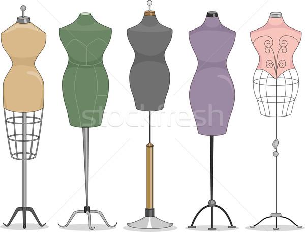 Illustratie lijn omhoog mode cartoon kleding Stockfoto © lenm
