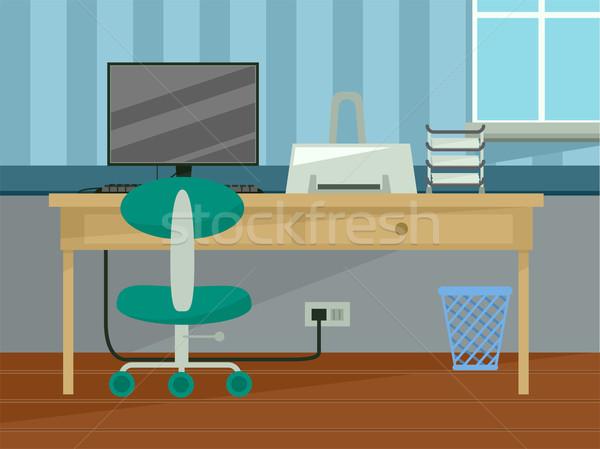 Otthoni iroda belső illusztráció asztal tanulás vektor Stock fotó © lenm