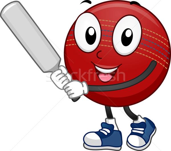 Críquete bola mascote ilustração bat Foto stock © lenm