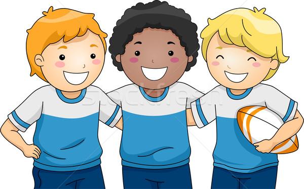 Rögbi játékosok illusztráció csoport mosolyog fiúk Stock fotó © lenm