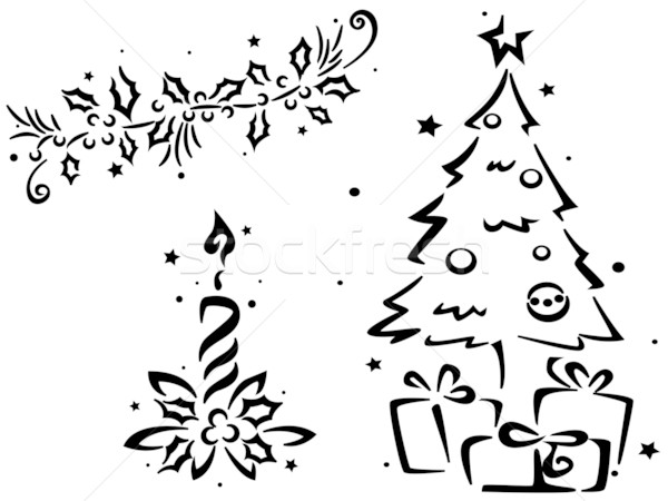 Christmas stencil kerstboom ander kaars Stockfoto © lenm