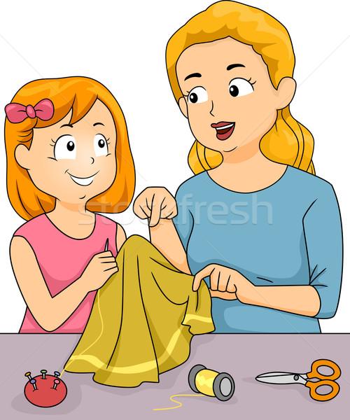 Varr leckék illusztráció anya gyermek gyerek Stock fotó © lenm