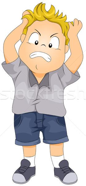 Mérges gyerek illusztráció fiú haj külön Stock fotó © lenm