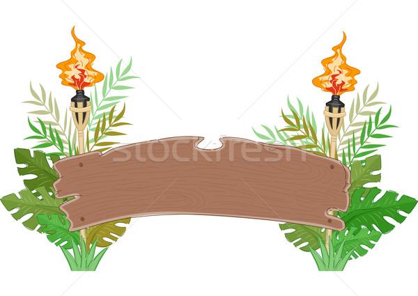 Giungla legno banner decorato foglie Foto d'archivio © lenm