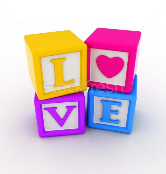 愛 ブロック 3次元の図 バレンタイン 言葉 ロマンス ストックフォト © lenm