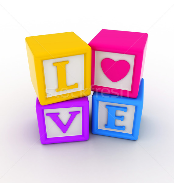 любви блоки 3d иллюстрации Валентин слово романтика Сток-фото © lenm