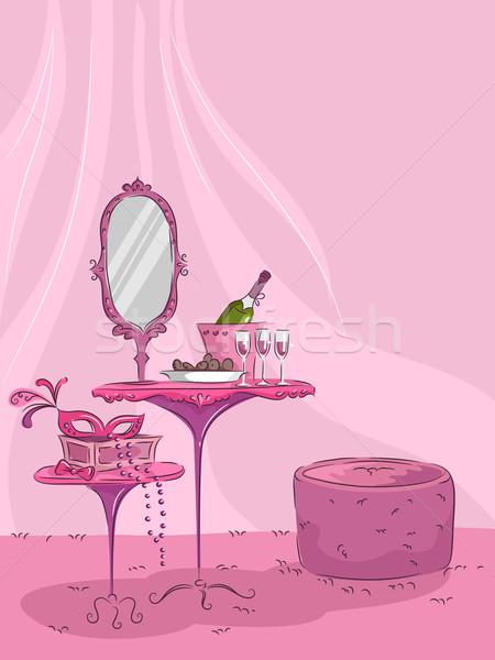 Femminile maschera vino illustrazione rosa Foto d'archivio © lenm