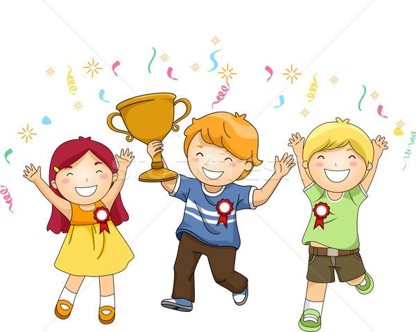 Gyerekek bajnok trófea illusztráció csoport ünnepel Stock fotó © lenm