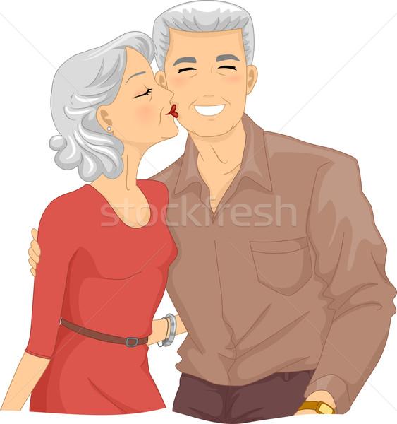 Couple de personnes âgées baiser joue illustration baiser Photo stock © lenm