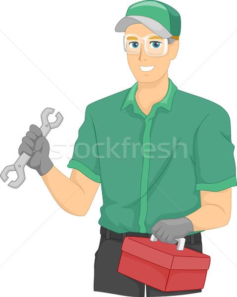 Homem mecânico caixa de ferramentas ilustração trabalhar Foto stock © lenm